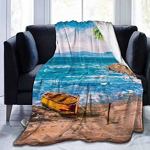 Kuscheldecke Paradise Tropical Island Beach Decke Mikrofaser Sofaüberwurf Superweich und Flauschig Fleecedecke Warm, Gemütlich, Langlebig für Bett und Sofa