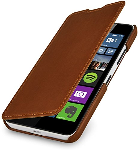 StilGut Book Type Hülle ohne Clip, Hülle aus Leder für Microsoft Lumia 640/640 Dual SIM (nur kompatibel mit orangener & Blauer Version), Cognac