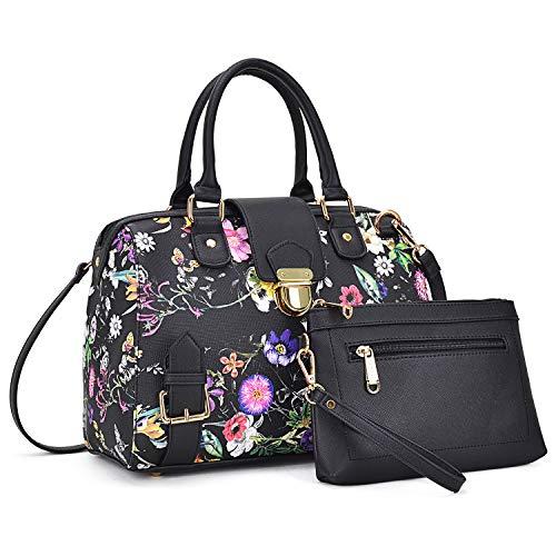 Dasein Women Barrel Handbags Purses Fashion Satchel Bags Top Handle Shoulder Bags Vegan Leather Work Bag Tote (Black Flower)