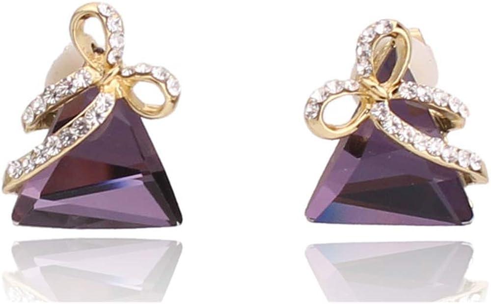 HAPPYAN High-grade Rhinestone Crystal Clip on Earrings No Pierced for Women Party Wedding Elegant Ear Clip Good Gfit