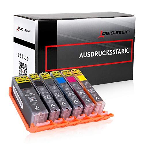 6 Logic-Seek Tintenpatronen kompatibel mit Canon PGI-570 CLI-571 XL für Canon Pixma TS8050 TS9050 MG7750 MG7751 MG7752 MG7753