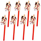 8PCS Inflatable Stick Horse for Kids - Pony/Christmas/Western Cowboy/Horse Baby Shower Birthday Party Decorations Supplies Favors Inflatable Horse Head Costume Stick (37 Inches)