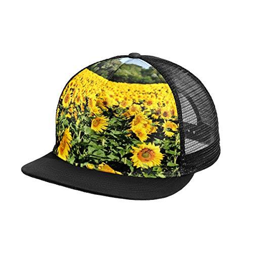 N\O Blumenfeld Sonnenblume Bud Herren Baseball Cap Outdoor Sport Snapback Hut Verstellbare Frauen Sonnenschutz Hüte für Sommer Strand Wandern Laufen