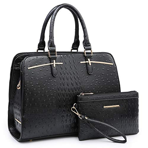 Dasein Women Satchel Handbag Shoulder Purse Top Handle Work Bag Tote Bag With Matching Wallet (Black Ostrich)