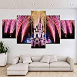 LSDAMN 5 Pinturas en Lienzo 5 Piezas/Pieza HD impresión Cenicienta Parque de Atracciones Arte Moderno Carteles de Pared Lienzo para decoración de Sala de Estar del hogar