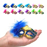 12PCS Mini Mask Masquerade Party Decoration for Halloween Mardi Gras Colorful Feather Mask for Cake Decor Party Favors