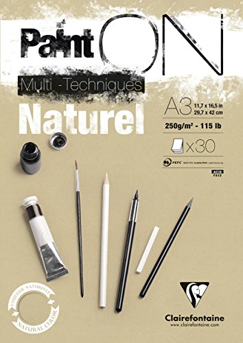 Clairefontaine 96541C Naturel PaintOn Block (250 g, DIN A3, 29,7 x 42 cm, geleimt, 30 Blätter, gut geeignet für Bleistift, Kreide oder PastellIdeal mit rauen Oberfläche und Sandton) naturbraun