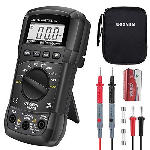 Digital Multimeter Ueznirn Auto-Range AC/DC Multimeter Voltmeter Amperemeter Ohmmeter mit Temperaturmessung, LCD-Anzeige und Hintergrundlicht