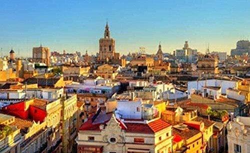 CHANGWW Vista aérea de 500 Rompecabezas de Madera para Adultos y niños en el Casco Antiguo de Valencia.