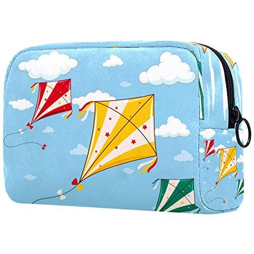 Tres cometas coloridas en el cielo azul bolsa de maquillaje bolsa organizador para viajes portátil neceser para niñas y mujeres