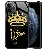 iPhone 11 Pro Max Case, Queen Golden Crown Gold Glitter Stylish iPhone 11 Pro Max Case for Girls Women Tempered Glass Black Cover + Soft Silicone TPU Shockproof Bumper Case for iPhone 11 Pro Max