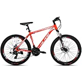 Hiland 26 Inch Mountain Bike Aluminum for Men with 18 Inch Frame Kickstand Disc Brake Suspension Fork Urban Commuter City Bicycle Red