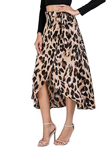 Verdusa - Falda dividida para mujer con estampado de leopardo, 0-Multicolor, S