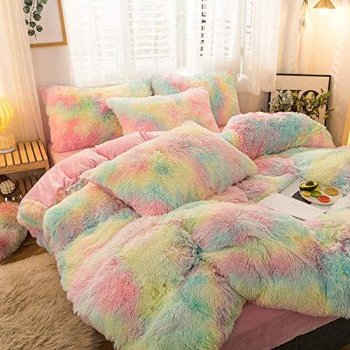 5PCS Faux Fur Duvet Cover Set Plush Shaggy Velvet Bedding Set (1 Luxury Fitted Sheet + 1 Furry Duvet Cover + 2 Fuzzy Pillow Covers + 1 Fluffy Pillow), Rainbow Queen/ Full