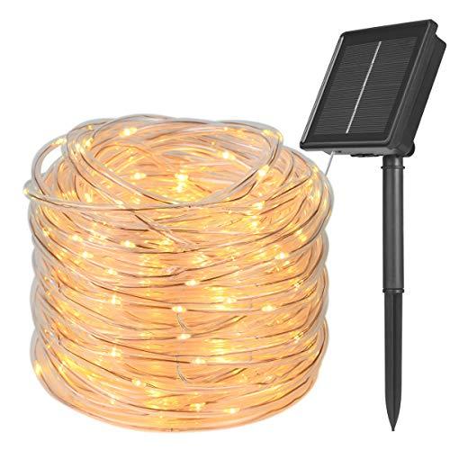 Flintronic 200LED Solar Cadena de Luces, 22m 8 Modos Manguera Iluminación, Tubo de Luz LED Exterior,IP65 Impermeables Luces LED de Cuerda Solar para Jardín, Camino, árbol, Bodas, Blanco Frío