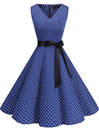 bridesmay 1950er V-Ausschnitt Kleid Vintage Cocktailkleid Rockabilly Retro Schwingen Kleid Faltenrock Navy Small White Dot M