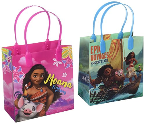 """Moana and Maui Epic Voyages12 Authentic Licensed Party Favor Reusable Small Goodie Gift Bags 6"""""""