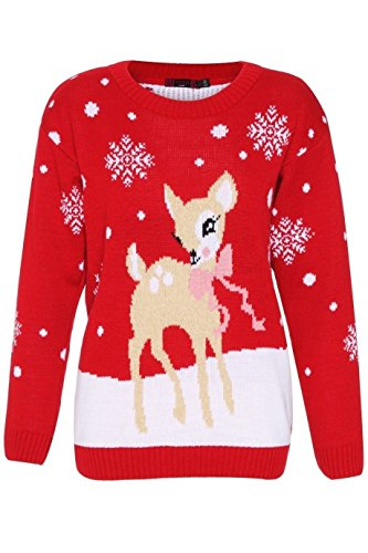 New da bambino cervo grigio rosso Natale maglione lavorato a maglia stile vintage Bambi top Red Medium