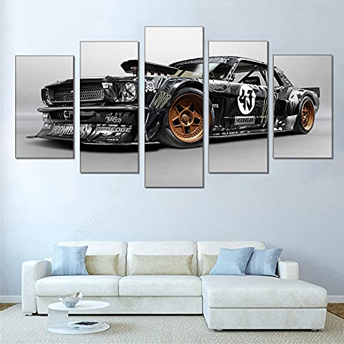 DSGER HD Art Cuadro De Pared 5 Partes Impresión Decoración Canvas Coche Mustang RTR Moderno Salón Decoración para Hogar