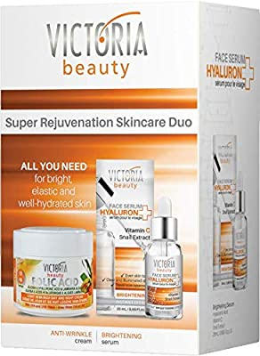 Victoria Beauty Super Rejuvenation Pamper Skincare Gift Set – Day and Night Anti-Aging Face Cream Moisturiser 50ml and Brightening Serum 20ml, perfect for women aged 40-55 by Camco Ltd.