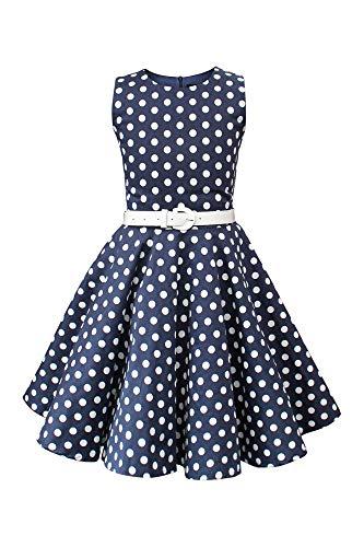 BlackButterfly Kinder 'Audrey' Vintage Polka-Dots Kleid im 50er-J-Stil (Nachtblau, 11-12 J / 146-152)