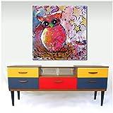 Pintura de animales Búho divertido Pintura al óleo sobre lienzo Cuadros de pared para sala de estar Niños Cartel e impresión Decoración de pared-50x50cm Sin marco