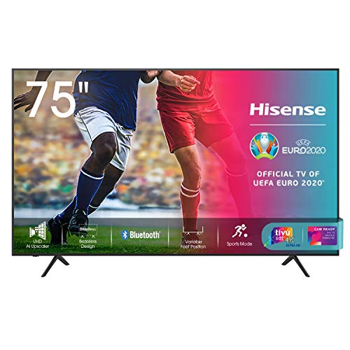 "Hisense 75AE7010F, Smart TV LED Ultra HD 4K 75"", HDR 10+, Dolby DTS, Alexa integrata, Tuner DVB-T2/S2 HEVC Main10 [Esclusiva Amazon - 2021]"