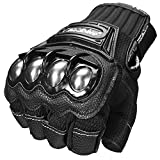 ILM Alloy Steel Fingerless Bicycle Motorcycle Motorbike Powersports Racing Gloves (L, Half Finger-BLACK)