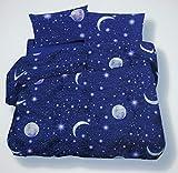 SpazioTessile Copriletto Estivo Copridivano Telo Arredo Piquet 100% Cotone Luna Stelle Moon Stars (Blu, 1 Piazza, Singolo)