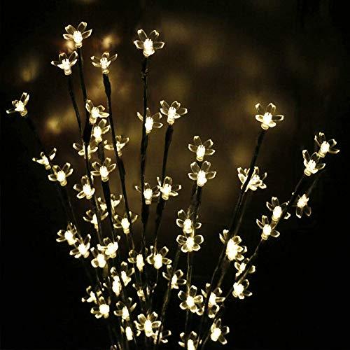 Preisvergleich Produktbild Solar-LED-Zweig-Lampe,  3 Stück Blumen-Lampen,  Kirschblütenbaum,  20 LEDs,  für den Außenbereich,  Garten,  Terrasse,  Wege,  Hof,  Weihnachten