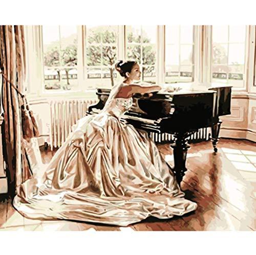 DIY digitales ölgemälde Malen Nach Zahlen Mädchen vor dem Klavier Abbildung Leinwand Hochzeit Dekoration Kunst Bild Geschenk Rahmenlose40 * 50 cm.