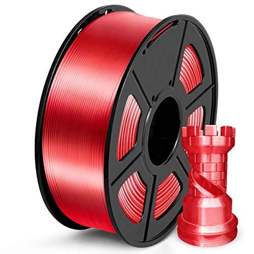 SUNLU PLA Filamento 1.75mm Silk Rosso, Stampante 3D Filament PLA 1kg Spool, Tolleranza del diametro +/- 0,02 mm PLA Silk Red