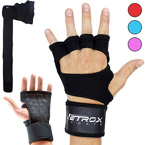 Netrox New Ventilated Weight Lifting Gloves with Built-In Wrist Wraps Full Palm Protection & Extra Grip Great for Pull Ups Cross Training Fitness WODs & Weightlifting Suits Men & Women (Schwarz, XXL)