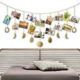 Bicolor Bilderrahmen Collagen, Mondphasen Girlande Foto hängende Wanddekoration mit 20 kleinen Holzclips für Zimmer, Schlafsaal, Büro, Schlafzimmer