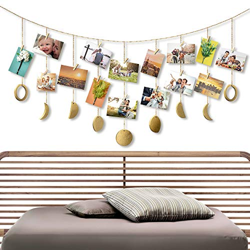 Opknoping fotolijst Collage Maan Phase Garland Kettingen, Foto Display met 20 Houten Clips voor Slaapkamer Bruiloft Party Dorm Wanddecoratie, Gouden