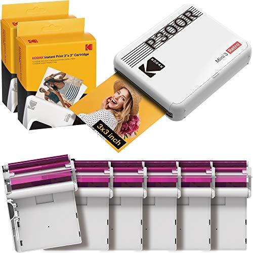 Kodak Mini 3 Retro Fotodrucker, tragbar, iOS, Android und Bluetooth, 7,6 x 7,6 cm, 4Pass-Technologie und Laminierung, Weiß, 68 Blatt Bundle