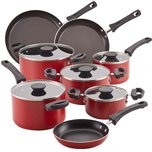 Farberware Neat Nest Space Saving 10.5 & 12-Inch Skillets, Red (2-Piece)