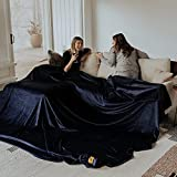 Big Blanket Co Original Stretch Navy   10' x 10' Extra Large Throw Blanket   Soft, Cozy Outdoor Blanket for Summer and Giant Picnic Blanket   Machine Washable & Temperature Regulating
