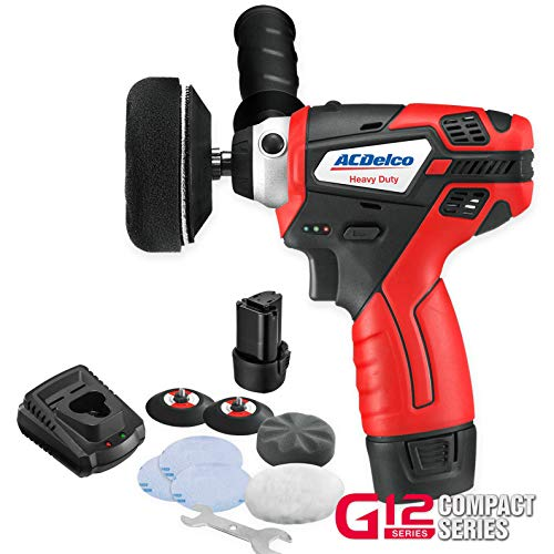 ACDelco G12 Series 12V Cordless 3quot Mini Polisher Tool Set with 2 Liion Batteries Charger and Accessory Kit ARS1212