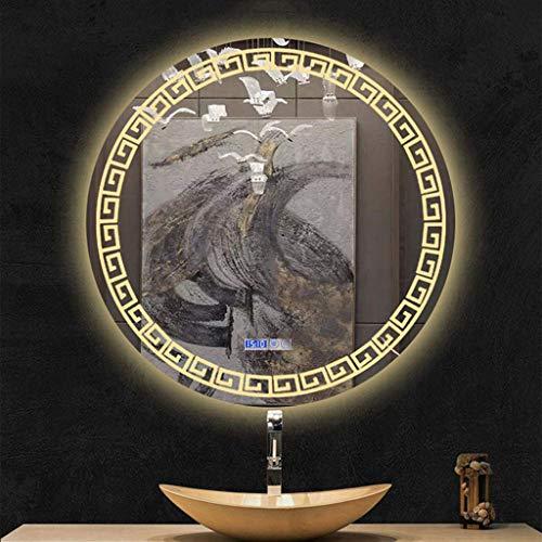 BAIHAO Espejo de baño Iluminado por LED Espejo de tocador Redondo Interruptor de Dos toques con Pantalla de Tiempo y Temperatura Espejo antivaho