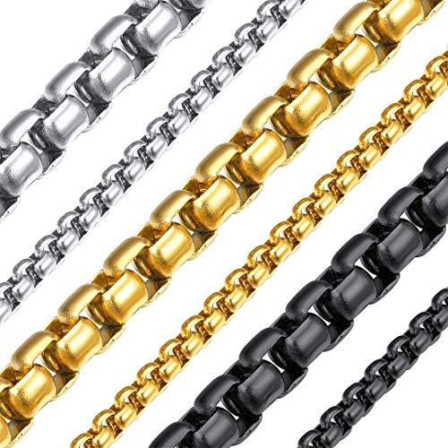 ChainsHouse 3-6mm 18-30 in Square Rolo Acciaio Inossidabile/Oro 18 carati/Pistola Nera/Placcato Collana a Maglie Collana Rotonda Cord Box Collana Uomo Donna Gioielli
