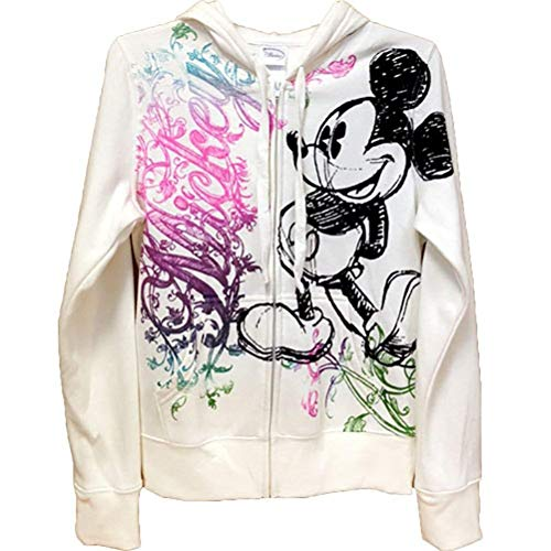 Disney Junior damska ozdobna myszka Miki zapinana na zamek bluza z kapturem, biała