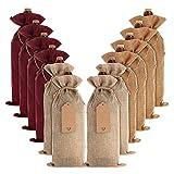 12 bolsas de yute de yute para botellas de vino con cordones, reutilizables,...