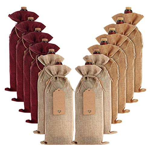 12 Sacchetti di iuta per Bottiglie di vino, Sacchetti di iuta, Riutilizzabili, con Coulisse, Sacchetti Regalo di vino, con Etichette per Feste,Compleanni, Matrimoni, Viaggi di inaugurazione della casa