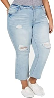 Dollhouse Juniors' Plus Size Distressed Cropped Flare-Leg Jeans Blue Size 18