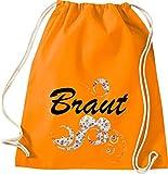 Shirtinstyle Bolsa de Deportes, Novia, Rosas Zarcillo, Joven Gesell Interior Despedida Boda Flower Motivo Gimnasio Saco Bolso Bolsa - Naranja