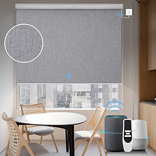 Graywind Motorized Shades 100% Blackout Compatible with Alexa Google WiFi Smart Hardwired Window Shade Remote Control Thermal Insulated Electric Blinds, Customized Size (Light Gray)