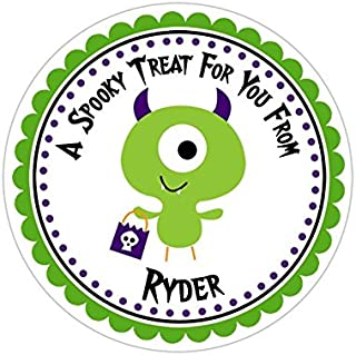 Personalized Customized Halloween Party Favor Thank You Stickers - Monster - Round Labels - Choose Your Size
