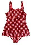 Playshoes Mädchen Badeanzug , gepunktet UV-Schutz nach Standard 801 und Oeko-Tex Standard 100 Badeanzug mit Rock in rot mit weißen Punkten 461035, Gr. 104, Rot(8 rot)