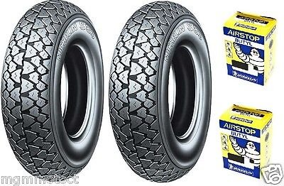 Paire pneus Pneu Michelin s83 3.50 10 59J + Chambres à air pour piaggio pX 125